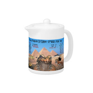 The 10 Plagues Of Egypt - Hebrew & English Teapot
