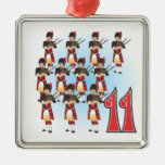 The 12 days of Christmas Square Metal Christmas Ornament