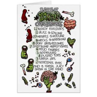 The 12 Days of Zombie Christmas Greeting Card