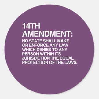 THE 14TH AMENDMENT CLASSIC ROUND STICKER