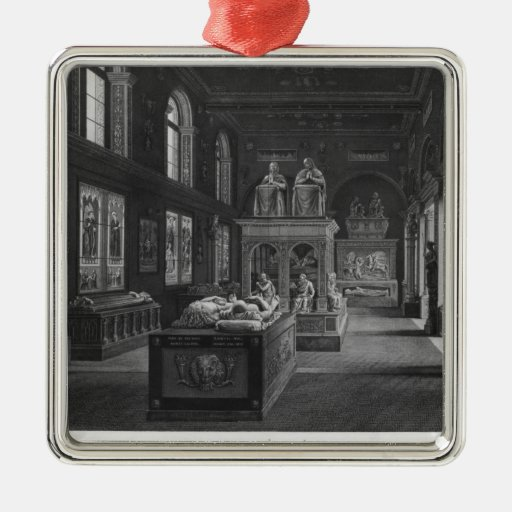 The 15th century room, Musee des Monuments Square Metal Christmas Ornament