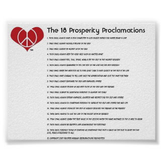 The 18 Prosperity Proclamations Poster