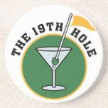"The 19th Hole coasters<br><div class=""desc"">The 19th Hole beverage coasters,  with a funny golf design.</div>"