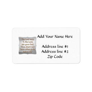 The 1st Commandment Address Label
