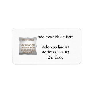 The 2nd Commandment Address Label