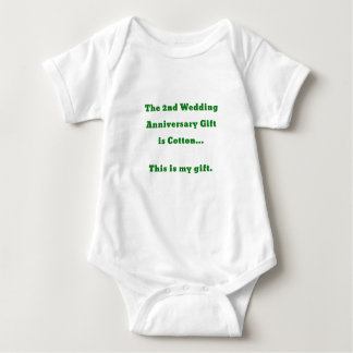 The 2nd Wedding Anniversary Gift is Cotton This Baby Bodysuit