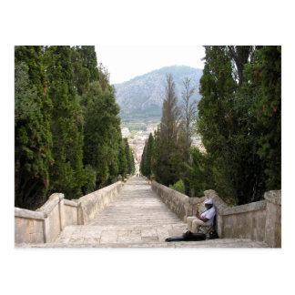 The 365 Calvario steps in Pollenca Mallorca Postcard