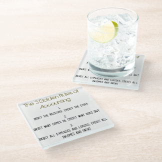 """""""The 3 Golden Rules of Accounting"""" Glass Coaster"""
