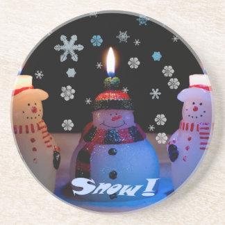 The 3 Snowmen Lit Sandstone Coaster