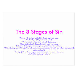 The 3 Stages of Sin Postcard