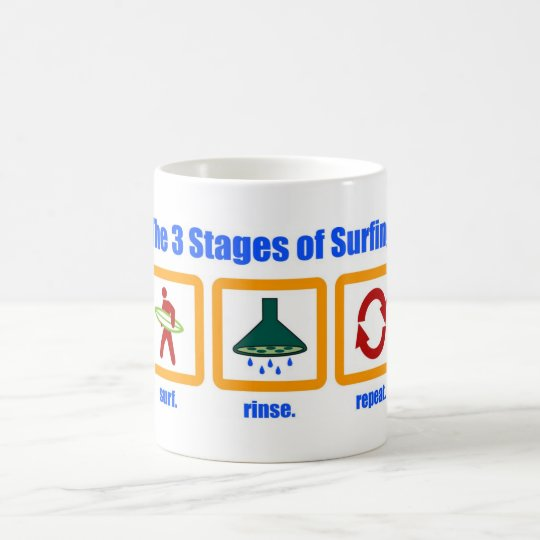 The 3 Stages of Surfing Mug