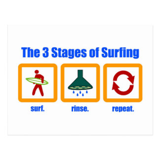 The 3 Stages of Surfing Postcard