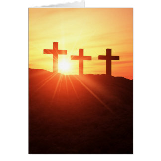 The 3 the crosses on the summit with sunset card