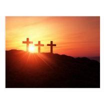 The 3 the crosses on the summit with sunset postcard