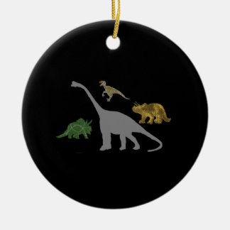The 4 Dinos Double-Sided Ceramic Round Christmas Ornament