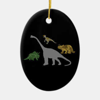 The 4 Dinos Double-Sided Oval Ceramic Christmas Ornament