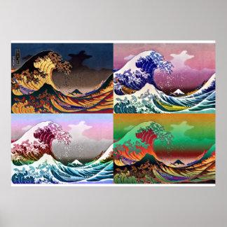 The 4 great waves of Kanagawa Poster