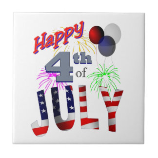 The 4th of July Small Square Tile