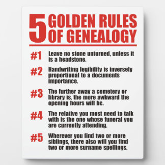 The 5 Golden Rules of Genealogy Photo Plaques