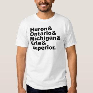 The 5 Great Lakes | Huron Ontario Michigan Erie T-shirts