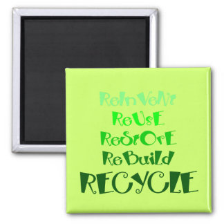 The 5 R's of Recycling 2 Inch Square Magnet
