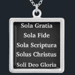 "The 5 Solas Silver Plated Necklace<br><div class=""desc"">Sola Scriptura - Scripture Alone Solus Christus - Christ Alone Sola Gratia - Grace Alone Sola Fide - Faith Alone Soli Deo Gloria - The Glory of God Alone</div>"