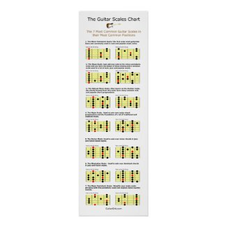 The 7 Most Common Guitar Scales Chart Poster