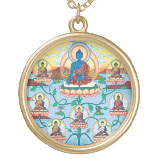 The 8 Medicine Buddhas - Healing Masters - round Gold Plated Necklace