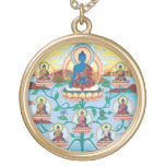 The 8 Medicine Buddhas - Healing Masters - round Round Pendant Necklace