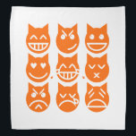 """The 9 Lives of the Emoji Cat Bandana<br><div class=""""desc"""">The Nine Lives of the Emoji Cats ~ Grinning,  Smirking,  Smiling,  Love,  Tears of Joy,  Kissing,  Pouting,  Crying and Weary.    Globe Trotters specialises in idiosyncratic imagery from around the globe. Here you will find unique Greeting Cards,  Postcards,  Posters,  Mousepads and more.</div>"""