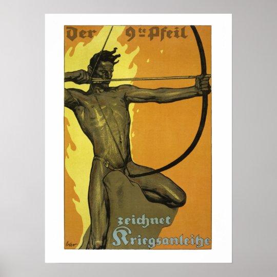 The 9th arrow, Austrian art nouveau world war I Poster