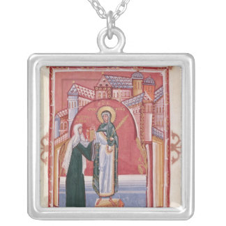 The Abbess Hilda offering Square Pendant Necklace