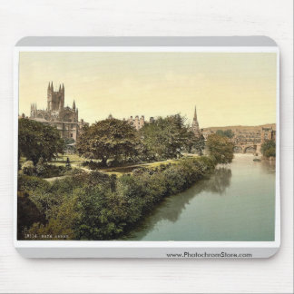 The Abbey, from the bridge, Bath, England vintage Mouse Pad