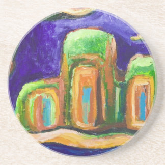 The Abbey in the Jungle (abstract landscape) Beverage Coaster