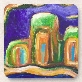 The Abbey in the Jungle (abstract landscape) Beverage Coasters