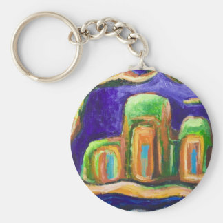 The Abbey in the Jungle (abstract landscape) Keychain
