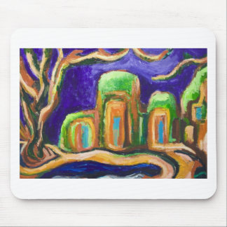 The Abbey in the Jungle (abstract landscape) Mouse Pad