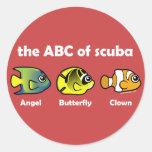 The ABC of Scuba Round Stickers