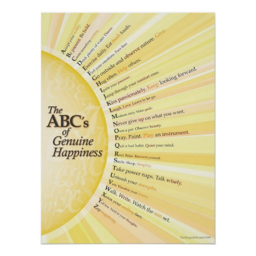 The ABC's of Genuine Happiness Posters