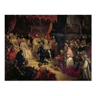 The Abdication of Charles V  1841 Postcard