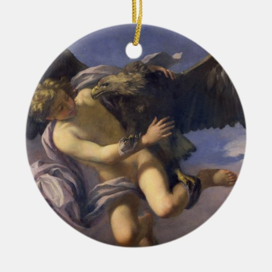 The Abduction of Ganymede, 1700 (oil on canvas) Ceramic Ornament