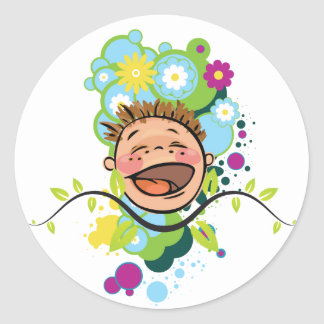 The Abstract Happy Kid Classic Round Sticker