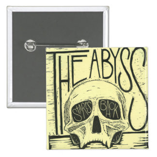 'The Abyss', Human Skull Block Print Pinback Button