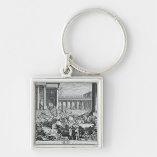 The Academy of Sciences and Fine Arts Silver-Colored Square Keychain