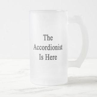 The Accordionist Is Here Beer Mugs