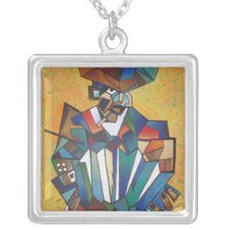 The Accordionist Silver Plated Necklace