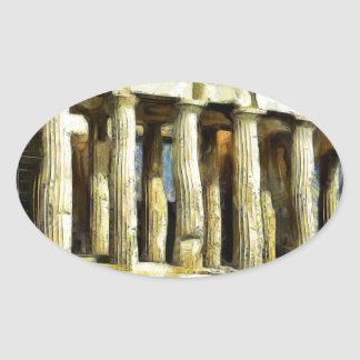 The Acropolis in Athens Oval Sticker