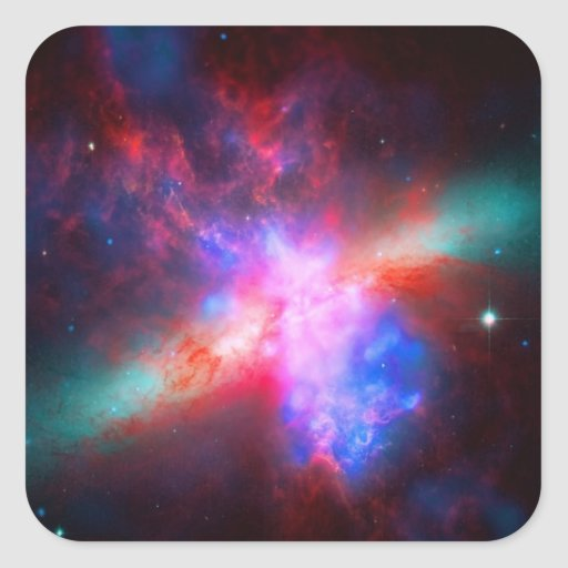 The Active Cigar Galaxy - Messier 82 Square Sticker