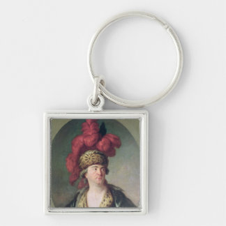 The Actor Lekain in the Role of Genghis Khan Keychains