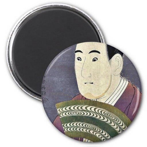 The actor Sawamura Sojuro by Toshusai Sharaku 2 Inch Round Magnet
